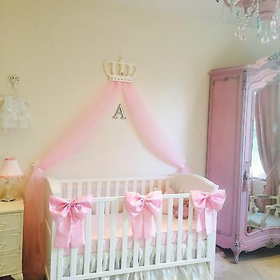 Beautiful Nursery Girls Large Cot Bows Princess Decor Pink Baby Bedding Set