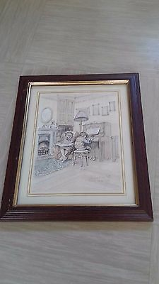 vintage print picture Piano Practice signed M Clarkson