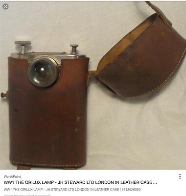 """RARE ww1 vintage milatary torch 'the orilux""""by j steward"""