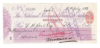 National Provincial Bank of England, BRIDGEWATER Somerset, cheque issued 1913