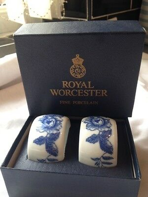 Very Collectable Pair Of Boxed Royal Worcester Napkin Rings