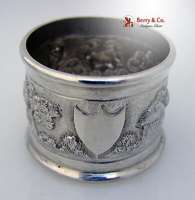 Indian Coin Silver Napkin Ring Architectural Landscape