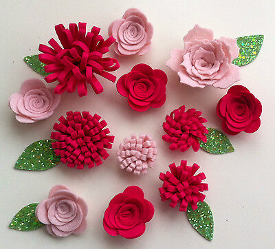 12 Sizzix die cut felt 3d flowers & leaves.Sewing,garlands,headbands,shoes,bags