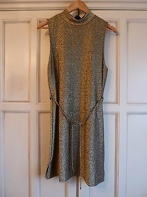 Topshop Gold Metallic High Neck Belted Tunic Dress Size 12