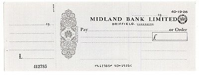 MIDLAND BANK Limited - large UNISSUED Cheque Yorkshire, with circular duty stamp
