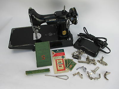 Vintage 1938 Singer Featherweight 221-1 Sewing Machine with Case and Accessories