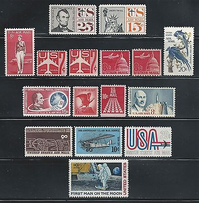 1960-69 US Air Mail Stamps, 16 Different, unused, couple minor faults