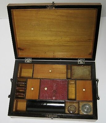 18th 19th CENTURY WOOD SEWING BOX Antique