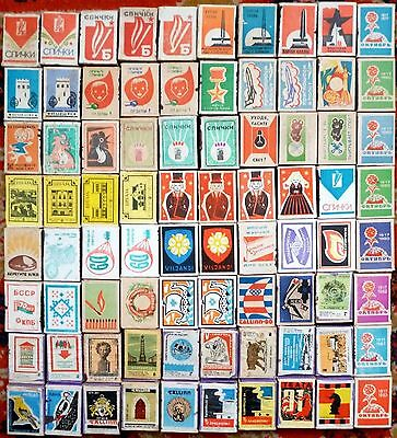 Large collection of rare matchbox USSR with original matches 1950-1991s - 80 pcs