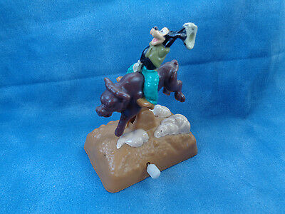 "Vintage 1995 Disney Burger King Goofy Rodeo Bull Riding Windup Toy 3 1/4"" H"
