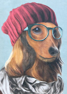 LONG HAIRED DACHSHUND Art Print Gallery Wrap Around Canvas Red Hat scarf Glasses