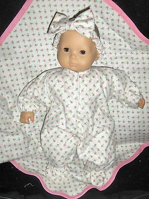 "3 pc Rosebud Sleeper Headband Blanket 15"" Doll Clothes Made To Fit Bitty Baby"