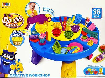 NEW Kid Pretend Toy Play Dough Soft Clay Plasticine Play Table Set (#8724)