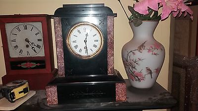 French slate and Italian marble mantel clock
