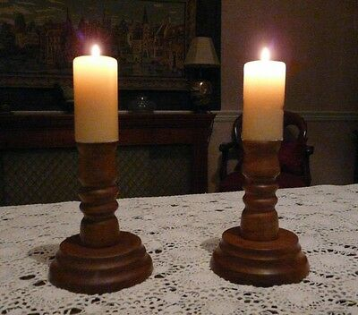 Pair Myrtle Wood Candle Holders With Candles, U.s. Wood Turner, Made In 1981