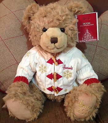 2016 Harrods Teddy Bear Brand new with tags - named Hugh -  Xmas / Christmas