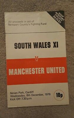 South Wales v Manchester United 1976 football programme