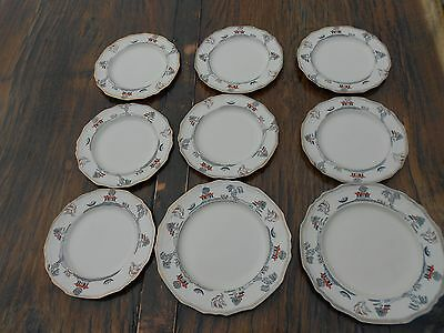 "9 Vintage Alfred Meakin Marigold Astoria Shape Willowette Plates 6.5"" and 7.5"" d"
