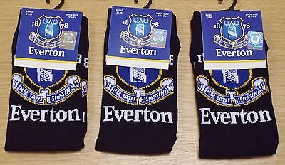 3 Pairs Of Boy's Official Everton F.c Club Crest Socks Shoe Size 12.5 - 3.5