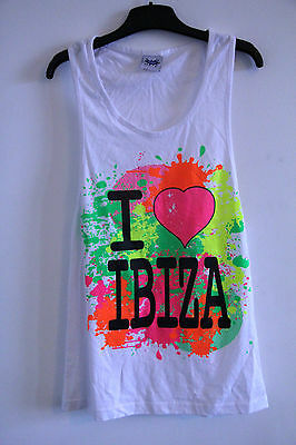 Vintage Neon I Love Ibiza Muscle Tee Vest Top M 90s Rave Blogger Balearic Party