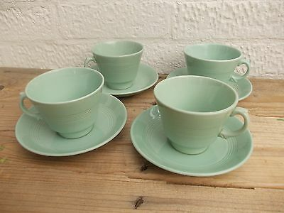 4 Vintage Woods Ware Beryl Green Tea Cups and Saucers