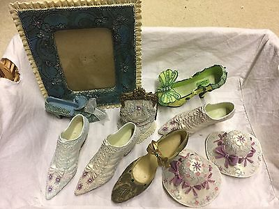 Miniature ornamental shoes, hats, Bag and Picture Frame
