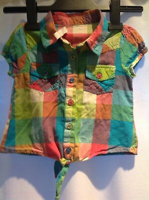 M&Co Girls Tie Front Shirt Age 3-4