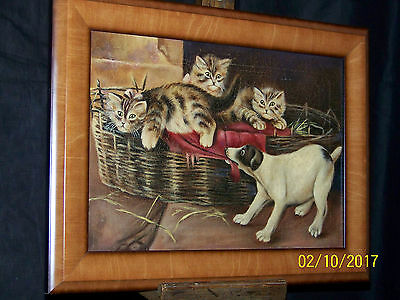 "Antique c1895 Original Oil On Canvas ""Kittens & Puppies"" Painting"
