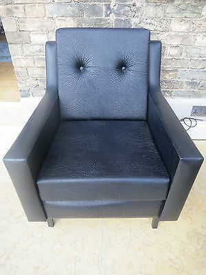 French 1960's retro vintage black faux leather armchair