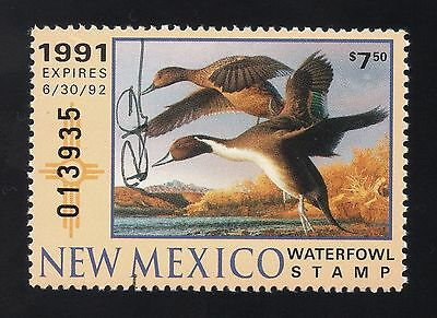 New Mexico # 1, unused, NG, VF, $7.50 State Duck Stamp, 1991, Signed by Artist