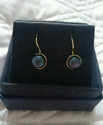 New Dower & Hall, 18ct gold peacock freshwater pearl earrings