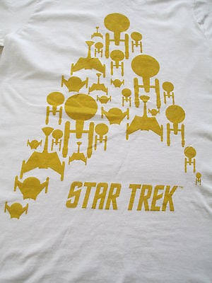 Star Trek Starfleet Starship Women White Yellow T Shirt S Small M Medium