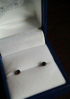 9ct gold Authentic midnight blue Sapphire Round cut stud earrings . Boxed