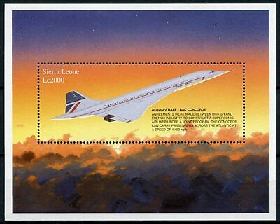Sierra Leone 1997 MNH Aerospatiale BAC Concorde 1v S/S Supersonic Jet Stamps