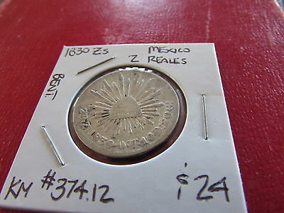 1830 Zs Mexico Silver 2 Reales Eagle Snake Radiant Cap KM #374.12