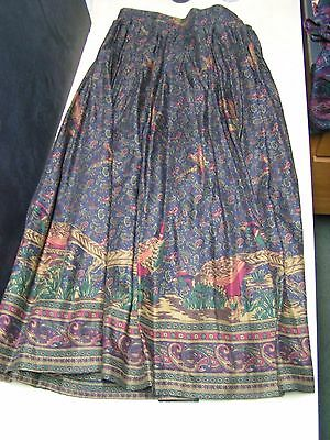 Vintage JH Collectibles Pailsey Skirt Size 4 Gold, Navy & Burgundy Pheasants