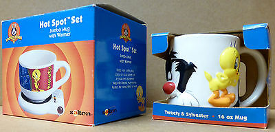 Lot of 2 Unused Tweety Bird Mugs 1 Hot Spot w/ warmer Looney Tunes NIB