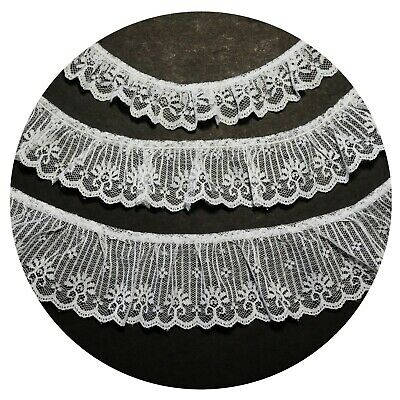 "1/"" White Raschel Lace Trim Ruffle Scalloped Edge Sewing Notions Wholesale Lot"