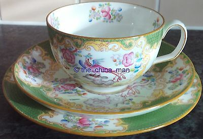 antique MINTON GREEN COCKATRICE pattern TEACUP SAUCER PLATE TRIO 4 available