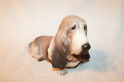 1984 Retired BASSET HOUND Dog Sculpture, SANDICAST, by Sandra Brue, Handpainted