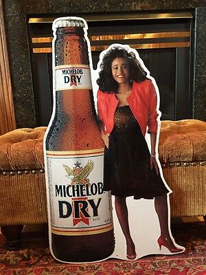 """MICHELOB Dry Beer Anheuser Busch Woman Standing Vintage Tin Sign 35.5"""" x 18"""""""