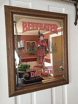 """VINTAGE BEEFEATER LONDON DISTILLED DRY GIN BAR Framed MIRROR 23"""" X 19"""""""