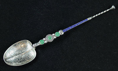 English  Sterling Silver & Enamel Anointing Coronation Spoon 1901 Edward Vii