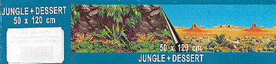 poster fond d aquarium jungle+desert double face 120x 50 cm de hauteur