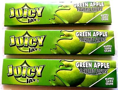 3 x JUICY JAYS KING SIZE SLIM GREEN APPLE FLAVOUR CIGARETTE ROLLING SKINS PAPERS