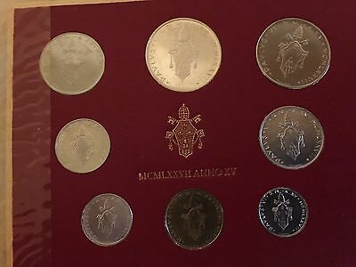 1977 Italy Vatican complete set UNC with silver in official red sleeve