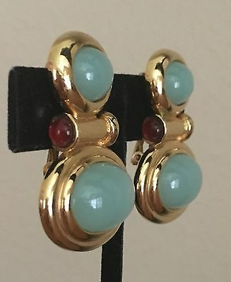 Elizabeth Taylor for Avon Gold Tone Clip On Earrings Jade & Ruby Colored Cabs