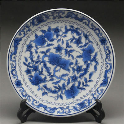 "6"" Chinese Blue and white Porcelain painted flower Plate w Qianlong Mark"