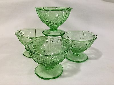 Four (4) Green Cherry Blossom Sherbet Dishes