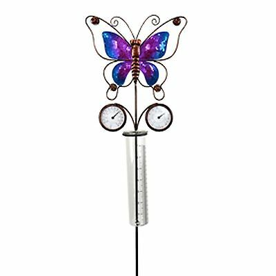 Butterfly Rain Gauge with Thermometer Crushed Glass Outdoor Patio Garden Decor